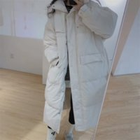OFTBUY 2021 New X-Long Winter Women Coat 90%White Duck Down Casual Belt Solid Color Thick Loose Warm Simple Fashion Streetwear