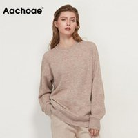 Aachoe o cou chandail tricoté femme casual Casual Batwing manches longues dames sommets Pull Solid Pull Sweater femelle Suter Mujer1
