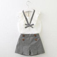 Clothing Sets Summer Cotton Toddler Kids Baby Girl Clothes Bowknot Vest Tops Plaid Shorts Pants Set Sweet Outfits 2pcs Children's