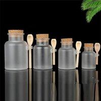 Rosted Banyo Tuzu Şişe Mantar Kapak Tahta Kaşık Banyo Tuz Kavanoz 200ml 300ml Buzlu Plastik Kozmetik Depolama Şişeleri FWF8802
