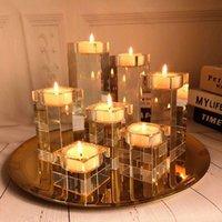 캔들 홀더 홈 장식 촛대 웨딩 아이디어 K9 크리스탈 향기로운 테이블 센터 피스 바 커피 숍 장식