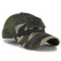 미국 국기 패치 자수 곡선 모자 위장 야구 모자 수 놓은 메쉬 모자 야외 분리형 야구 군대 카모 모자 owe8605