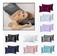 FATAPAESE Solid High Quality Silky Satin Skin Care Pillowcase Hair Anti Pillow Case Queen King Full Size Pillow Cover