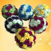 "Decorative Flowers & Wreaths 10""(25cm) Silk Rose Flower Kissing Balls El Ceiling Hanging Ball Centerpieces Wedding Decoration"