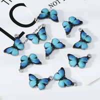 10 pcs azul esmalte bonito borboleta encantos pingentes brigas de colar de jóias marcando jóias acessórios