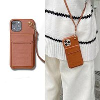 Fashion phone cases for iPhone 13 Pro Max 12 mini 11 XR XS XSMax protection Handbag Case shockproof Anti-fall luxury TPU leather Crossbody card bag With lanyard
