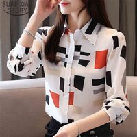 Casual Fashion Print Long Sleeve Womens Shirts Chiffon Blouse Full Notched Women Tops and Blouses Button Ladies 5498 50 210506