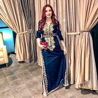 Smileven marrocos caftan vestidos de noite lado split sereia baile veludo manga longa formal festa