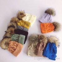 Kids big raccoon pompon hat girls twist knitted outdoor protection ear caps autumn winter children velvet thicken warm beanie Q2098