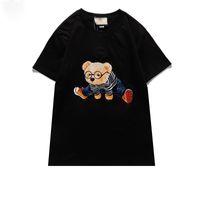2021S 디자이너 티셔츠 남성 고양이 티셔츠 곰 패션 의류 고품질 짧은 소매 여성 펑크 인쇄 편지 수 놓은 양고기 여름 스케이트 보드 탑스 눈 캐주얼 티