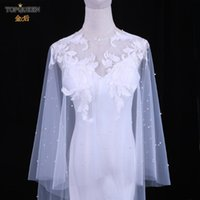 Wraps & Jackets TOPQUEEN G35 Jacket For Wedding Dress Bridal Lace Top Bolero Party Cover Shoulders Long Shrugs Women Outerwea