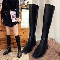 Womens Shoes 2020 New Autumn and Winter Knight Boots Square Toe Boots below the Knee High Leg Boot Internet Celebrity Suede Boots