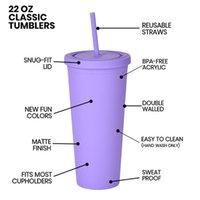 22oz skinny tumblers tumblers fosco colorido tumblers acrílicos com tampas e canudos de parede dupla plástico resuable copo tumblers 1695 v2