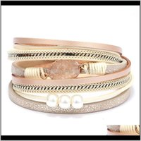Bangle Bracelets Jewelrymultilayer Pearl Magnetic Clasp Cuff Natural Druzy Stone Leather Wrap Bracelet Drop Delivery 2021 2Xazn