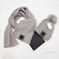 Moda 2021 Estilo 100% algodão chapéu chapéu lenço conjunto moda chapéus de malha lenços quentes para outono inverno cor 5 mens feminina feminina