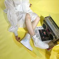 Обувь холст Юаньбу Весна и осень Высокая верхняя женская студентка толщиной нижний нижний кекс сплошной цвет боковой молнии повседневная женщин