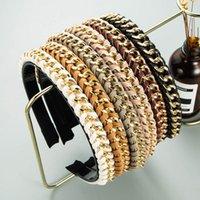 Haarklammern Barrettes Legierung Kette Imitation Leder Dünnkantiges Stirnband Mode Zubehör Frauen Wicklung PU Hairband Fine Band