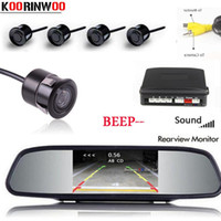 KOORINWOO 3IN1 مواقف السيارات الاستشعار 4 فيديو Sysem شاشة رقمية شاشة مرآة باركترونيك كاشف سيارة كاميرا الرؤية الخلفية كاميرا الرؤية الخلفية