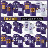 "18 Justin Jefferson 33 Dalvin Cook Adam Thielen Custom Football Jerseys 7 Patrick Peterson Minnesota ""Viking"" Smith Randy Moss Kirk Cousins Christian Darrisaw"