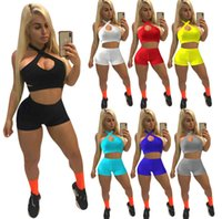 2021 Summer Women Tracksuits Sleeveless Tight Top + Shorts Solid Color Two Piece Sets Yoga Outfits Gym Clothes Plus Size Sportwear