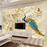 Custom Mural Self Adhesive Wallpaper 3D Stereo Magnolia Flower Peacock Painting Living Room TV Sofa Background Wall Waterproof Wallpapers