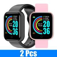 2 PCS Y68 Smart Watches Men D20 Fitness Tracker Presión arterial SmartWatch Monitor de ritmo cardíaco Bluetooth Wristwatch para iOS Android
