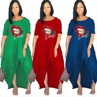 Plus Size S 4xl Summer Women Dresses Wholesale Casual Loose Lip Print Irregular Slip Hem Fashion Maxi Dress Dropshipping