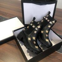 Desiner Kadın Çizmeler Küçük Arı Gerçek Deri Bootis Çöl Boot Tıknaz Topuk Gösterisi Stil Flatform Ayak Bileği Bootları En Kaliteli Boyutu 35-41