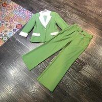 여성의 두 조각 바지 2021 가을 겨울 여성 컬러 블록 블레이저 정장 디자이너 한 버튼 + 플레어 오피스 2 복장 녹색