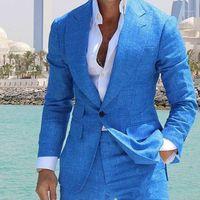 Costume Summer Linen Blue Beach Wedding Tuxedos Peaked Lapel One Button Groom Wear Formal Best Man Blazer Suits (Jacket+Pants)1