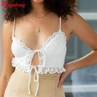Women's Tanks & Camis Plugalong Lace Patchwork Tie Front Tops For Women Skinny Deep V Neck Sexy Crop Tank Top White Y2K Spaghetti Strap Club
