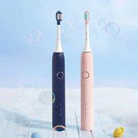 [Nuova versione] Soocas V1 Sbianto Sbiancamento Sbiancamento elettrico Spazzolino da denti portatile USB Type-C Carica con 2 Pennello Testa - Blu