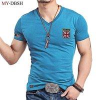 MyDBSH Marka Moda V Boyun Erkekler T Gömlek Rahat Elastik Pamuk Erkek Slim Fit Tişört Adam Nakış İngiltere Bayrağı T-Shirt Giyim 210716