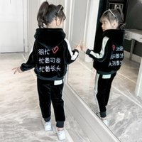 4-13 Years Little Girls Fall Winter Warm Black Clothing Set 2Pcs Kids Baby Tracksuit Teenager Thick Velvet Sportswear Suit Sets