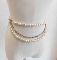 Waist belt with nature shell pearl and diamond in 18k gold plated for women wedding engagement jewelry gift have box stamp PS3152A
