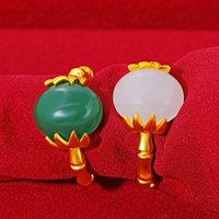 Mulheres Moda Areia Ouro Aberto Anéis Oval Green Stone Amarelo Cobre Banhado Casamento Bandas De Partido Nupcial Jóias