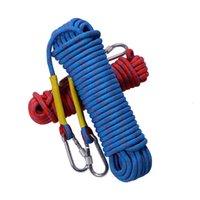 10 м / 15 м Профессиональный открытый скалолазание веревочки безопасности спасательные спасения канаты туризм аксессуар 10 мм диаметр полосатая пряжка