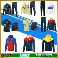 2021 Mexiko Liga MX America Soccer Jacket Set Langarm Hooded Kit 20/21 Guerron Calderon Club América Football Hemd Trainingsanzug Windjacke