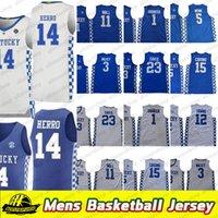 Erkekler Kentucky Wildcats Tyler Herro Koleji Basketbol Formaları Tyrese Maxey John Wall Anthony 23 Davis Demarcus 15 Kuzenler Malik Monk Jersey