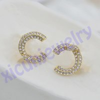 Ankunft offen als C Bolzenbuchstaben Ohrring Bling Perlenbolzen Mode Frauen Rhinestone Ohrringe Für Party mit Box