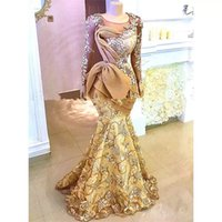 Gold Aso Ebi Mermaid Evening Dresses Long Sleeves Sheer Neck Sweep Train Plus Size Floral Lace Prom Party Gowns For Arabic Women 2021