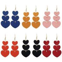 Multicolor PU Leather Dangle Earrings Two-sided Hearts Eardrop Long Tassel Peach Heart Charm Earring Women Designer Jewelry Gifts