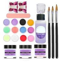 Nail Art Kitleri 2021 Araçları 12-Renk Oyma Toz Seti Hiçbir Kuyruk Kelebek Kağıt Tutucu Uzatma Kristal Sıvı Kalem