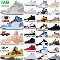 Chaussures de basket-ball pour hommes Jumpman 1 1s University Blue Silver Toe Dark Mocha Lucky Green Hyper Royal High Top Sneakers Baskets pour femmes