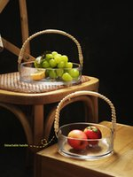 Rattan Glass Fruit Basket For Living Room Household Snack Tray Candy Box Light Luxury Dried Dessert CN(Origin) Dishes & Plates