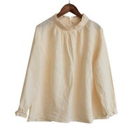 T9424-1 Women's Pleated Pastoral Home Base High Collar Shirt Ramie Cotton Sand Washing Products T-Shirt