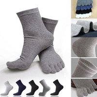 Men's Socks Selling Fashion Male Mens Five Fingers Separated Toes Cotton Solid Color Comfortable Soft Casual Ankle Sock