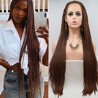 Synthetic Wigs Brown Color Long Free Part Braided Box Braids Wig Lace Front Hair With Baby For Women Daily Use