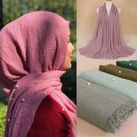 Bufandas Mujeres Musulmán Hijab Wrap Maxi Islam Pearl Shaws Play Jersey Beads Bufanda Señoras Casillo de algodón Diadema 40 colores