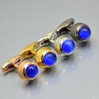 Gemelos de lujo enlace de puño para hombres de alta calidad clásico azul gema regalo de boda rosa oro negro plata